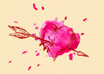 Valentine card with heart overshoot. Vector illustration