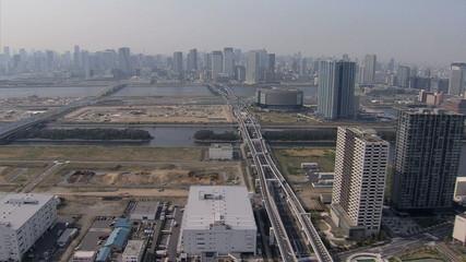 Aerial Metropolitan elevated vehicle Expressway Tokyo city  Japan