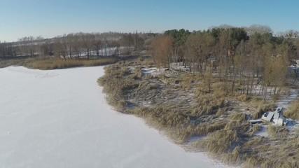 flight over the frozen lake