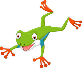 Cute cartoon green frog