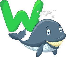 Cute cartoon whale with alphabet