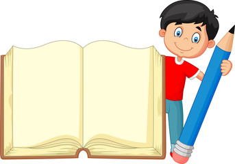 Cartoon boy holding giant book and pencil