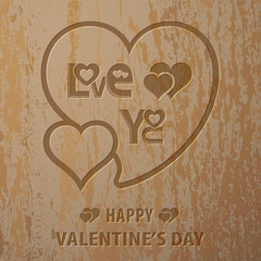 Wood carving text love you