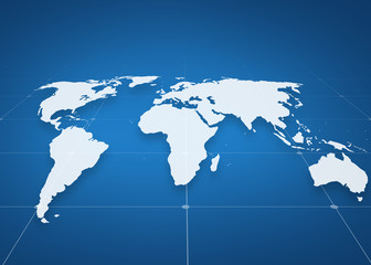 world map projection over blue background