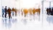 Leinwanddruck Bild - People at a trade fair