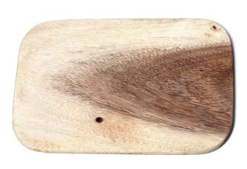 Wooden kitchen board on white background