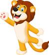 Cute lion waving hand