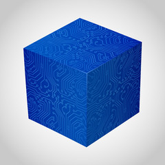 Three-dimensional box circuit board stile.