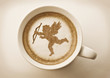 valentines cupid drawing on latte art coffee