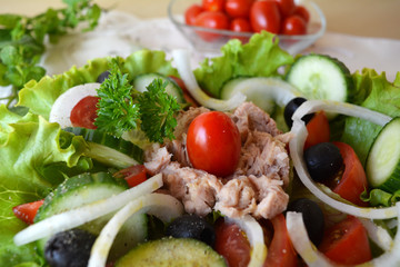 Mixed vegetable salad with tuna and olive oil
