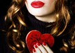 Young beautiful pretty woman red heart valentine love romance