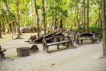 Inscription Maya bay in Jungle, Phi Phi Leh island, Thailand