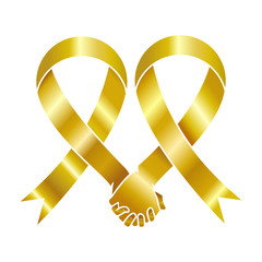 Gold awareness ribbon, human love concept