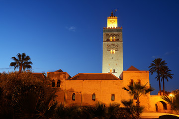 Morocco. Marrakesh. Koutoubia mosque at night