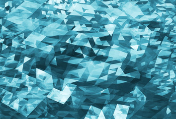 Abstract chaotic dark blue digital triangle low poly background