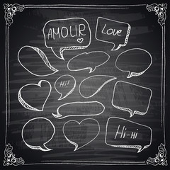 Hand drawn speech bubbles chalkboard effect.
