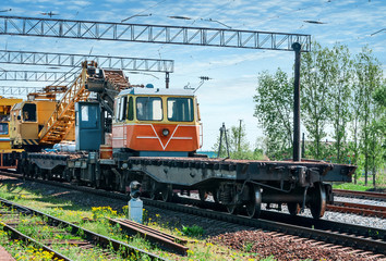 Train with special track equipment at repairs