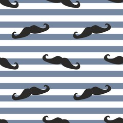 Tile mustache and stripes vector background