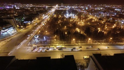 Aerial shot of the city at night .