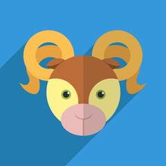 Vector illustration of a cute ram with a long shadow