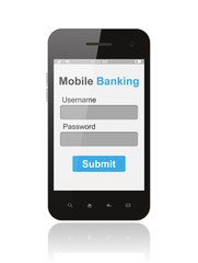 Smart phone with mobile banking login form