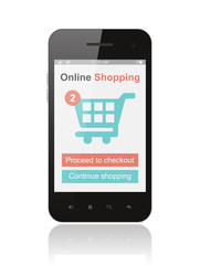 Smart phone with online shopping concept on white background.