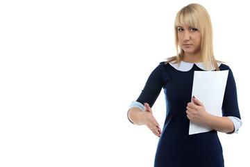 Photo of business woman and handshake