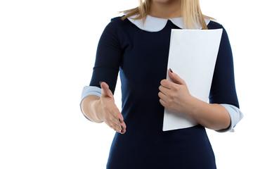 Image of business womanand handshake