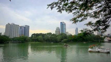 Cityscape view through the Serpentine lake in Park, Bangkok