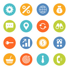 Set of flat design vector business and finance icons