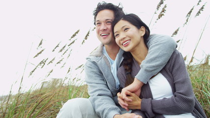 Asian Chinese Couple Warm Clothes Outdoors Beach Living