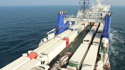 sea ferry transports trucks