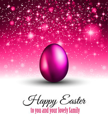 Happy Easter Background with a Colorful Egg with Shadow