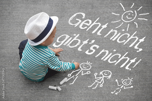 Leinwandbild Motiv Kinderzeichnung - Geht nicht ,gibt´s nicht!