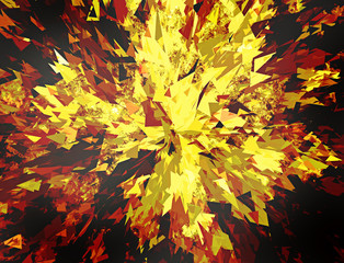 burst of broken particle on black backgrounds