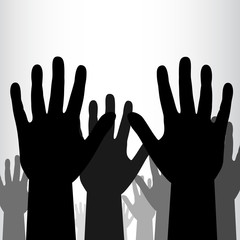 Crowd of black hands background.