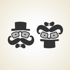 businessman and baby monochrome logo