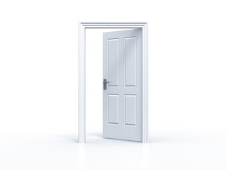 opened door in white background