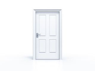 closed door in white background