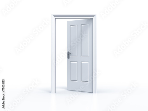 opened door in white background - 77008185