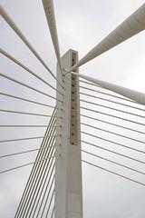 Suspended bridge pillar
