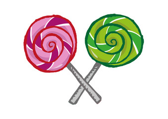 Hand drawn Lollipops in X formation