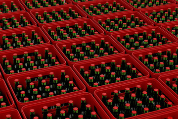 Crates with beer