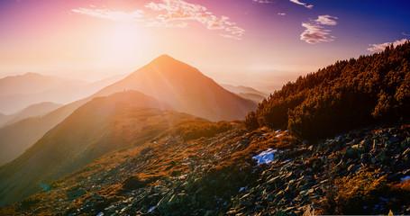 magic sunset in the mountains of Ukraine
