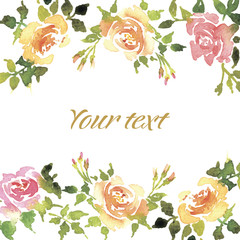 Greeting card with roses.