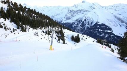 Ski Station on mount over Engelberg on the Swiss alps.