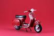 Scooter antíguo rojo aislado en rojo - 77010366