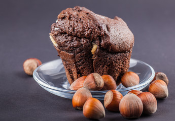 chocolate cupcake with nuts closeup