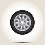 Car wheel on a gray background vector illustration