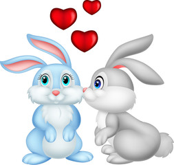 Two cute cartoon bunnies in love